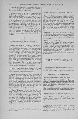 Tome 74 : Du 12 au 22 septembre 1793 - page 276