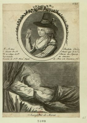 Assassinat de Marat [estampe] ; M. Anne Charlotte Corday