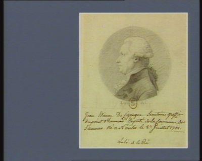 Jean Etienne de Cigongne secrétaire greffier du point d'honneur député de la commune de Saumur né à Nantes le 8.<em>e</em> 1731 : [dessin]