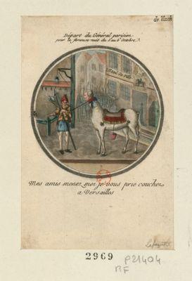 Départ du général parisien pour la fameuse nuit du 5 au 6 octobre mes amis menez moi je vous prie couchez a Versailles : [estampe]