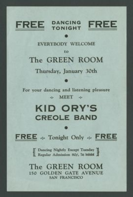 Flyer advertising Kid Ory Band at the Green Room