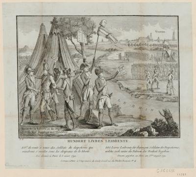 Hundert livres leibrente 100£ de rente à ceux des soldats du despotisme qui viendront s'enrôler sous les drapeaux de la liberté, loi donnée à Paris le 3 aout 1792 : [estampe]