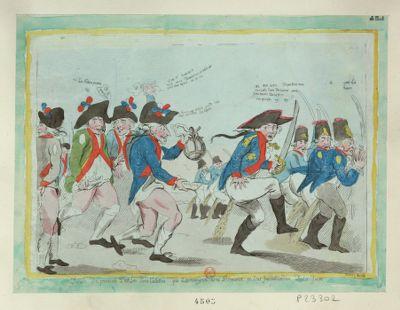 Deroute des prussiens par les sans culottes qui les renvoyent avec Brunswick en leur faisant cadeau de la foire [estampe]