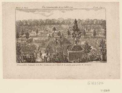 Fête commémorative du 14 juillet 1792 l'Assemblée nationale et le Roi monteront sur l'autel de la patrie pour prêter le serment : [estampe]
