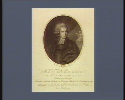 M.ite L.is F.ois Du Port-Dutertre né à Paris le 6 mai 1754, avocat en 1777, électeur en avril 1789lieutenant de maire, substitut du procureur sindic de la commune en <em>1790</em>, ministre de la Justice garde du sceau de l'etat le 20 nov.b. <em>1790</em>... : [estampe]