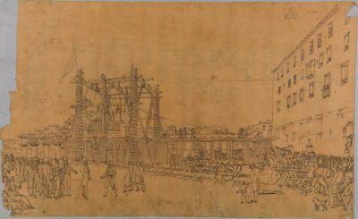 Tempio di Vespasiano, scaricamento del cornicione