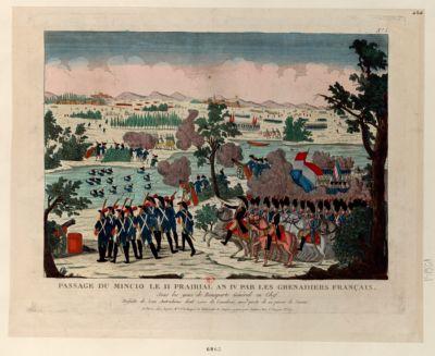 Passage du Mincio le 11 prairial an IV par les grenadiers français. Sous les yeux de Bonaparte Général en Chef [estampe]