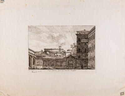Palazzo Rospigliosi. Cortile con sfondo del Colosseo