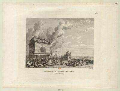 Barriere de la Conférence incendiée le 12 juillet 1789 : [estampe]