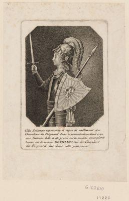 Cette estampe représente le signe de ralliement des chevaliers du poignard dans la journée du 10 aoust 1792, aux Tuileries elle a été gravée sur un modèle ensanglanté trouvé sur le nommé De Villers, l'un des chevaliers du poignard, tué dans cette journée : [estampe]