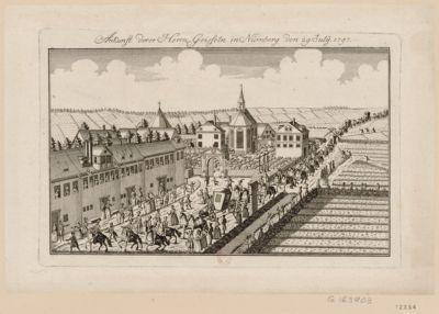 """Ankunft derer Herrn Geisseln in Nürnberg den 29 July"""" 1797 [estampe]"""