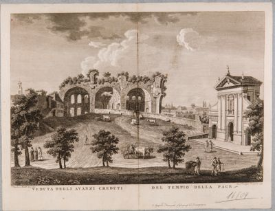 Basilica di Costantino, veduta generale degli avanzi creduti del tempio della Pace
