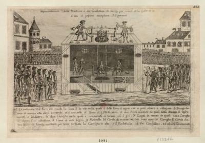 Rapresentazione della machina o sia guillotina di Parigi per mezzo della quale in [illisible] d'ora si possono decapitare 25 persone [estampe]