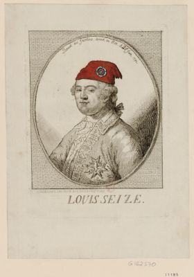 Louis seize bonnet des Jacobins donné au Roi, le 6th [i. <em>e</em>. 20] juin 1792 : [estampe]
