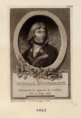 Generaal Buonaparte geboren te Ajaccio in Corsica, den 15 aug. 1769 : [estampe]