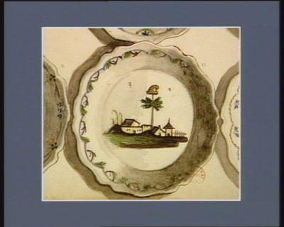 [Assiette décorée d'un paysage et d'un arbre de la liberté] [dessin]