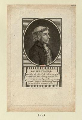 Joseph Chalier, président du district de Lion en 1793 je donne mon ame a l'Eternel, mon coeur aux patriotes et mon corps aux brigands. Ce matin de la liberté, déjà frappé du 1.<em>r</em> coup, insensible à la douleur, Frappe dit il au boureau et m'attache vite une cocarde, je meurs pour la liberté : [estampe]