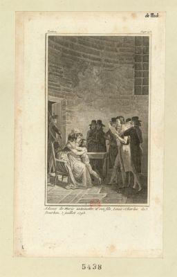 Adieux de Marie antoinette, à son fils, Louis-Charles de Bourbon, 3 juillet 1793 [estampe]