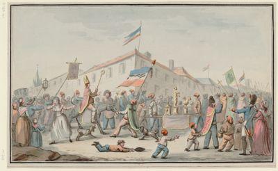[Procession burlesque de révolutionnaires chargés d'objets de culte, l'un d'eux monté sur un âne, portant la crosse et la mitre épiscopales] [dessin]