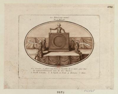 La  Démission motivée du 17 avril 1792 1. Gouvion, je pleure mon frère, et l'inutilité de sa mort, pour tous les contre révolutionnaires même des deux chambres. 2. Bouillé le traitre. 3. La Fayette son parent. 4. Malseigne. 5. Denou : [estampe]