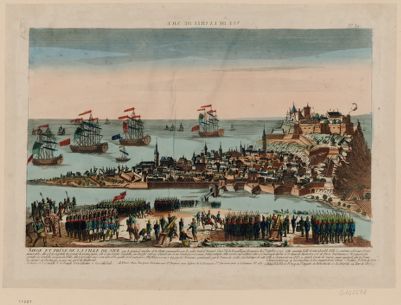 Vue de la ville de Nice siege et prise de la ville de Nice par le général Anselme et la flotte commandée par le contre-amiral Iruguet... : [estampe]