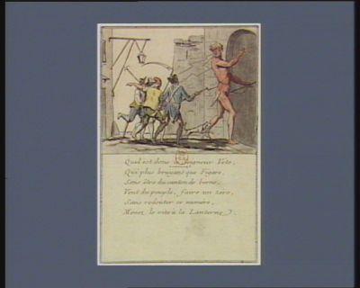 Quel est donc le seigneur Véto qui plus bruyant que Figaro, sans être du canton de Berne, veut du peuple, faire un zéro, sans redouter ce numéro, menez le vite à la lanterne : [estampe]