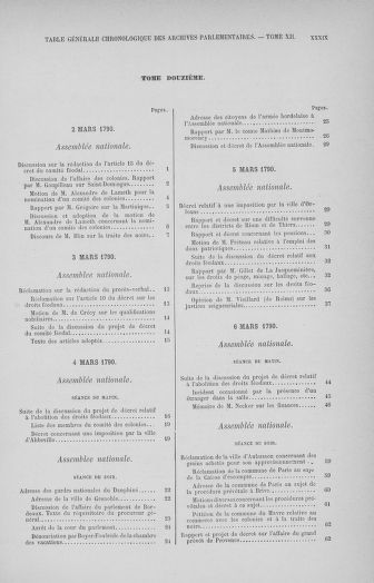Tome 32 : 30 septembre 1791. Tables. - page XXXIX