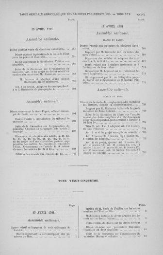 Tome 32 : 30 septembre 1791. Tables. - page CXXVII