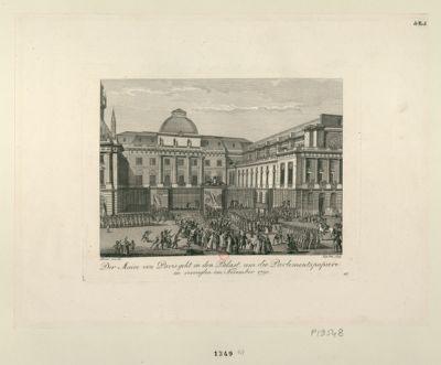 Der  Maire von Paris geht in den Palast, um die <em>Parlements</em> papiere zu versieglen im November <em>1790</em> : [estampe]