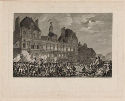 Le I X thermidor an II Robespierre, Couthon et St Just déclarés traîtres à la patrie, ainsi que Henriot... Ils se refugient dans la Maison Commune, où les officiers municipaux les accueillent... : [estampe]