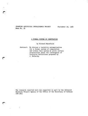 A Formal System of Computation. AIM-025