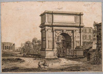 Arco di Tito dopo il restauro, nello sfondo il Colosseo