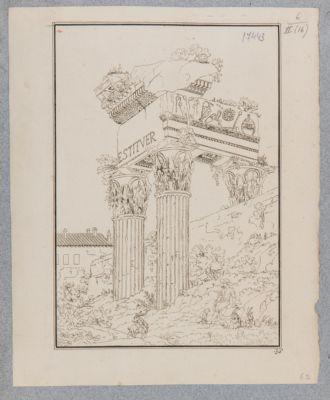 Tempio di Vespasiano, dettaglio del fastigio