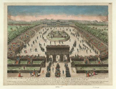 Vüe du <em>Champ</em> <em>de</em> <em>Mars</em> dit <em>de</em> <em>la</em> Fédération à <em>la</em> journée mémorable du 14 juillet 1790 <em>au</em> moment <em>de</em> l'arrivée <em>de</em> l'Assemblée nationale des deputés <em>de</em> tous les départements du royaume et des corps militaire <em>de</em> terre et <em>de</em> mer [estampe]