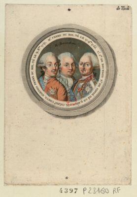 Ch.s Ph.pe comte d'Artois frere du roi, né le 9 8.bre 1757 Mr frere du roi, né le 17 9.bre 1755 ; L.s J.ph de Bourbon p.ce de Condé, né le 9 août 1736 : Ils reviendrons : [estampe]