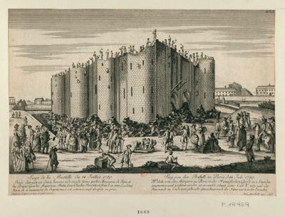 Siege de la Bastille du 14 Juillet 1789 Prise detruite en deux heures édemie de tems par les Bourgeois de Paris, et les Braves Gardes francoises. Batie sous Charles V en 1369 et finie l'an 1383. La démolition de ce monument du despotisme, à été com[m]encée, aussi tôt après sa prise : [estampe]