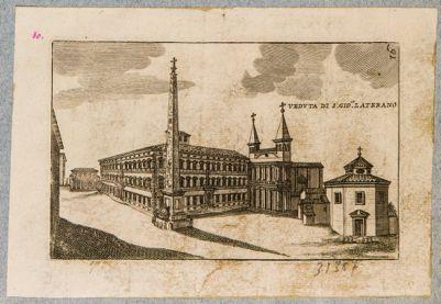 Piazza di S. Giovanni in Laterano. Obelisco, battistero, chiesa, palazzo pontificio e Scala Santa