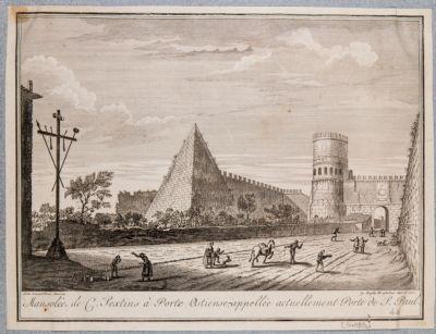 Piramide di Caio Cestio e Porta Ostiense, veduta generale