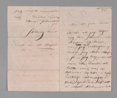 Jenny Lind letter to Tante, 1835 August 5