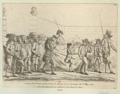 Convoy d'un fermier général mort de chagrin de la catastrophe du 1.er <em>may</em> <em>1791</em> et la désolation de ses confreres et des rats de cave [estampe]