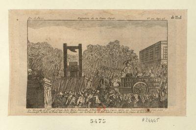 Exécution de la veuve Capet le mercredi 16 8.bre 1793 (vieux style) Marie Antoinette d'Autriche, veuve Capet, après un interrogatoire de trois jours consécutifs, a subi la peine due à ses forfaits sur la place de la Revolution, au pied de la statue de la liberté : [estampe]
