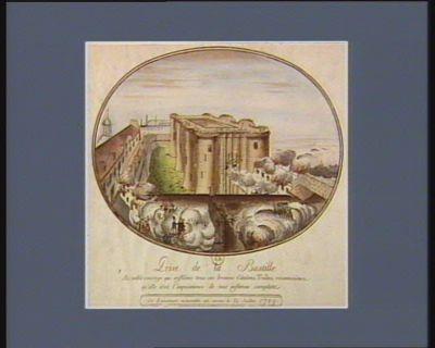 Prise de la Bastille au noble courage qui enflâme tous ces braves citoïens, traîtes, reconnoissez qu'elle étoit l'impuissance de vos infames complots : cet evénement mémorable est arrivé le 14 juillet 1789 : [estampe]
