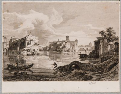 Isola Tiberina vista ai piedi di Ponte Rotto