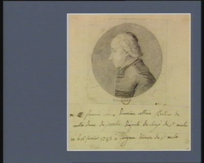 M. François Cosme Damien Allain recteur de Notre Dame de Josselin député du clergé de St Malo né le 16 février 1743 à Yvignac diocèse de St Malo : [dessin]
