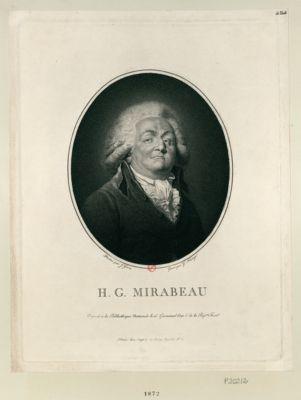H.G. Mirabeau déposé <em>à</em> la Bibliothèque nationale le 15 germinal l'an 6 de la Rép.que fran.se : [estampe]