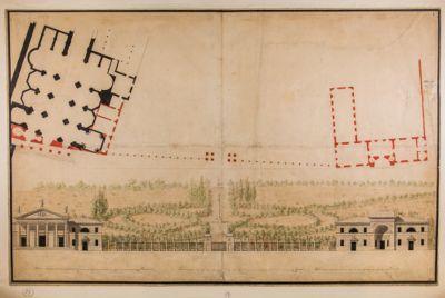 Piazza del Popolo. Giardino Pinciano, recinzione, pianta e prospettiva