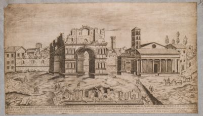 Velabro. Il Giano, l'arco degli Argentieri, S. Giorgio e la fontana visti dalla Cloaca Massima