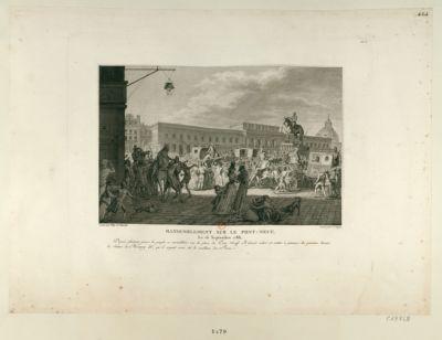 Rassemblement sur le Pont Neuf, le 16 septembre 1788 depuis plusieurs jours le peuple se rassemblait sur la place du Pont-Neuf. Il faisait saluer et mettre à genoux les passans devant la statue de Henry IV qu'il croyait avoir été le meilleur des rois : [estampe]