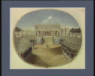 [Fête <em>de</em> <em>la</em> Fédération <em>au</em> <em>Champ</em> <em>de</em> <em>Mars</em>, le 14 juillet 1790 : autel <em>de</em> <em>la</em> patrie] [estampe]