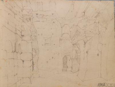 Porta Prenestina, veduta di scorcio dalla via di ronda fra i resti del monumento romano e gli archetti della controporta medievale
